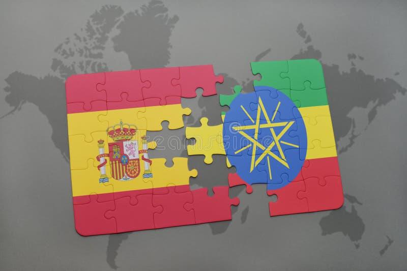 困惑与西班牙和埃塞俄比亚的国旗世界地图背景的 向量例证