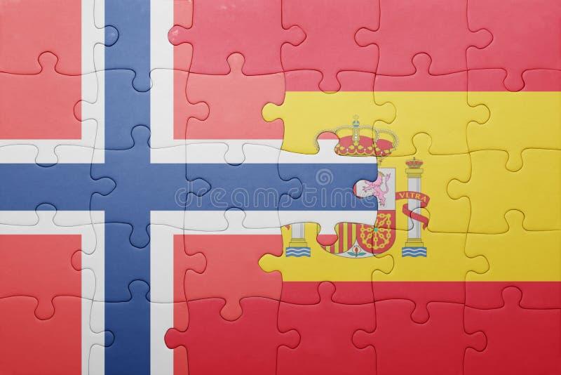 困惑与西班牙和挪威的国旗 免版税库存图片