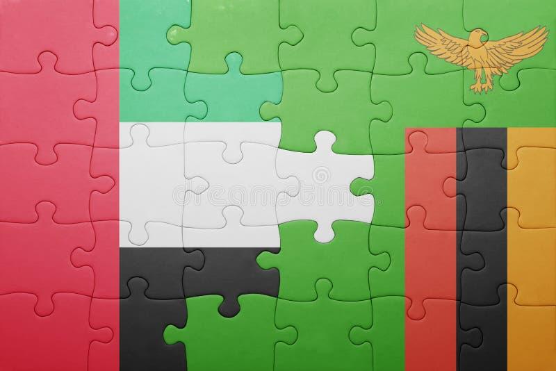 困惑与赞比亚和阿拉伯联合酋长国的国旗 库存例证