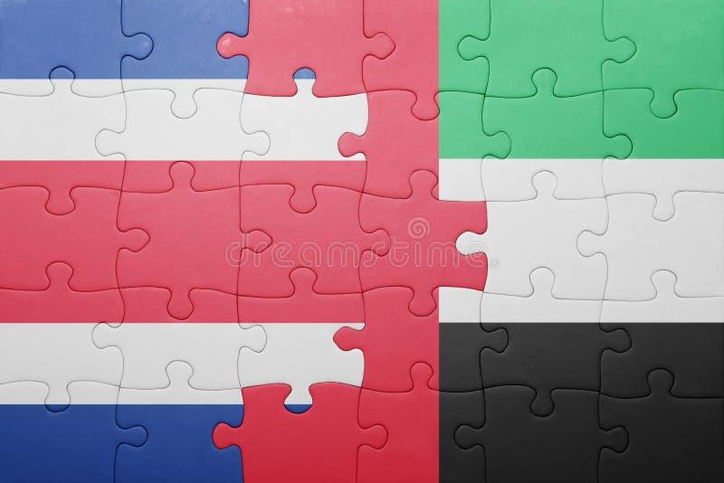 困惑与阿拉伯联合酋长国和哥斯达黎加的国旗 库存图片