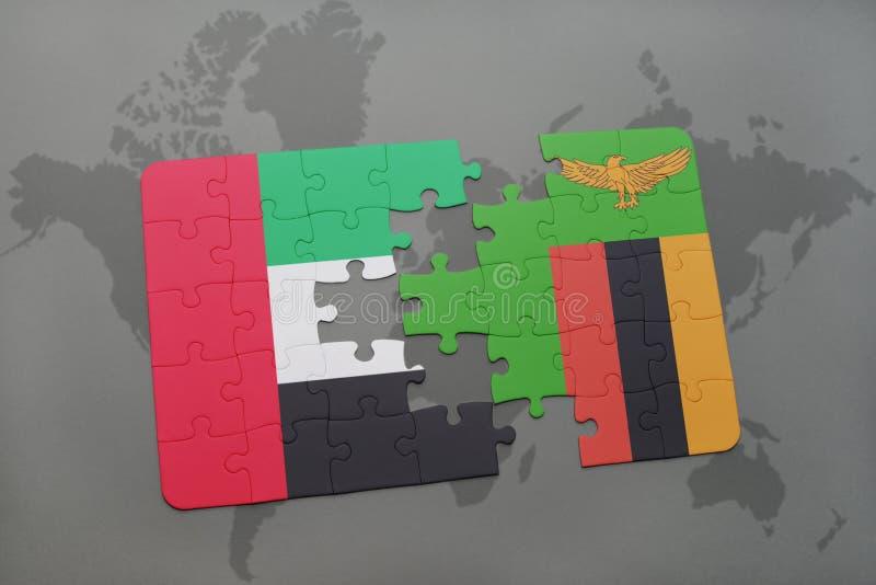 困惑与阿拉伯联合酋长国和赞比亚的国旗世界地图的 皇族释放例证