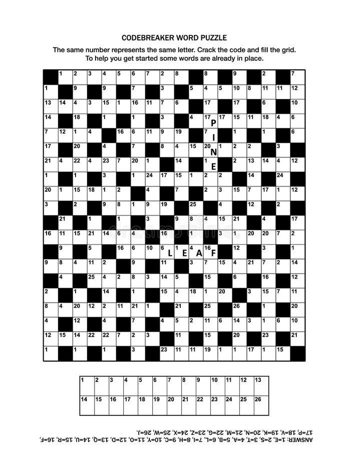困惑与codebreaker文字游戏或纵横填字游戏的页 皇族释放例证
