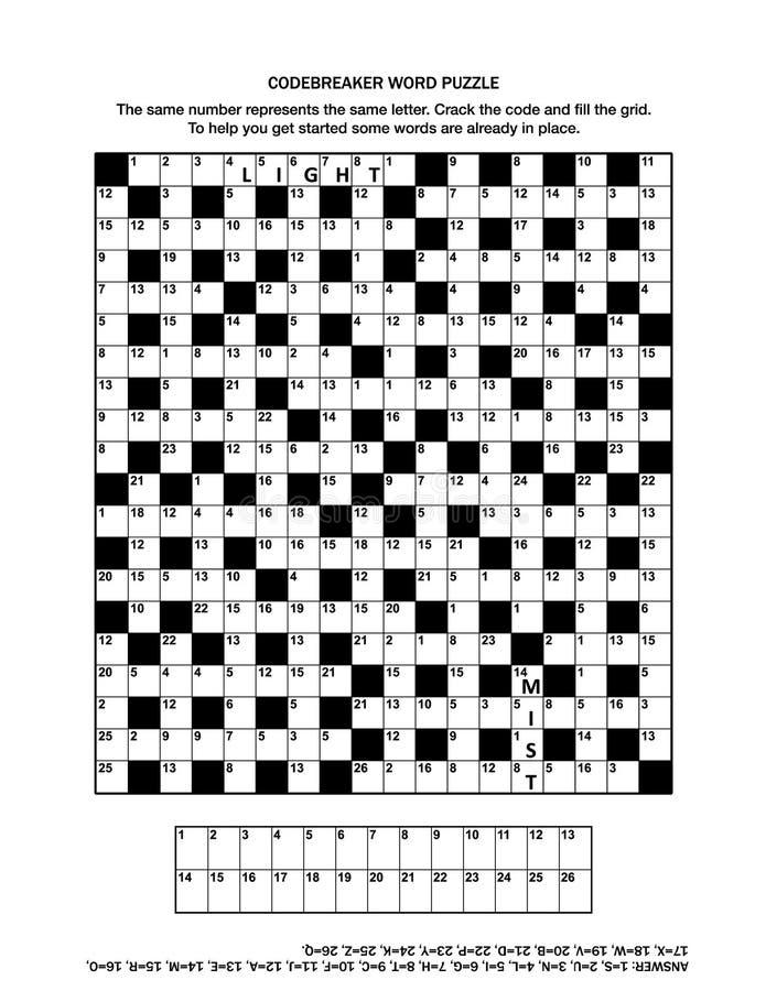 困惑与codebreaker文字游戏或纵横填字游戏的页 库存例证