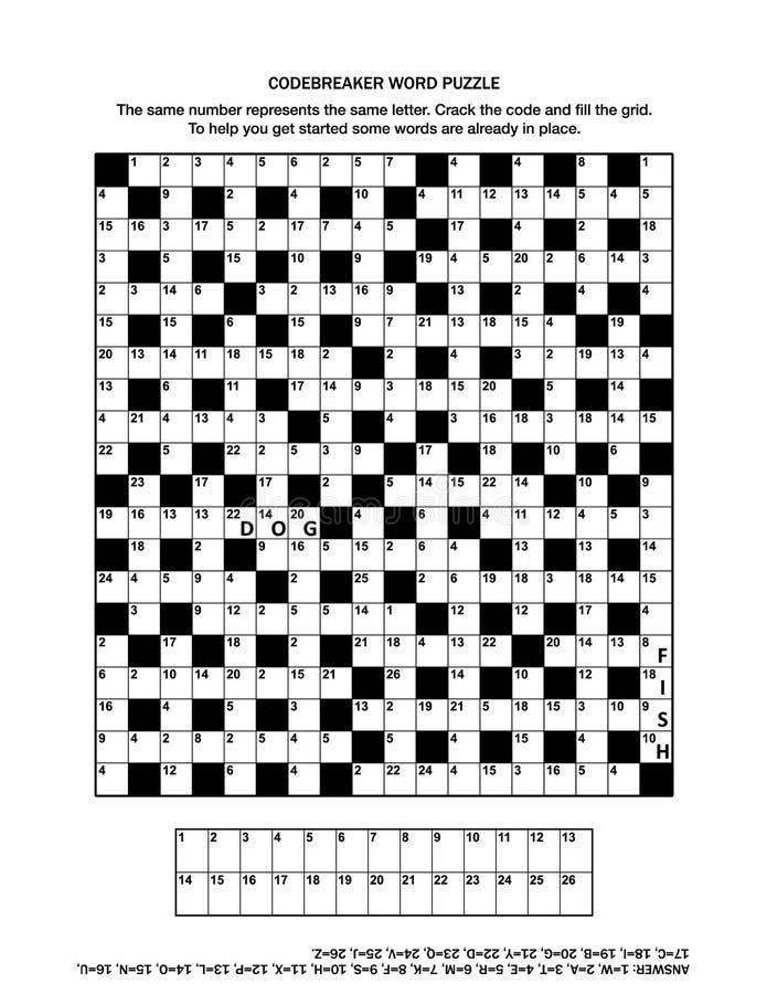 困惑与codebreaker文字游戏或纵横填字游戏的页 向量例证