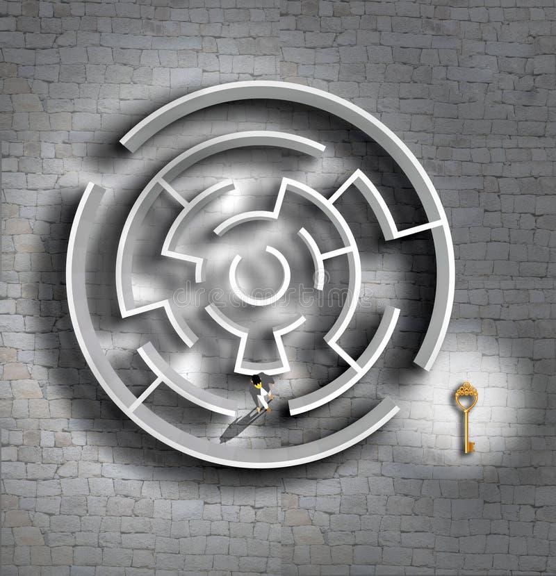 困惑在顶视图和寻找钥匙或解答的商人 皇族释放例证