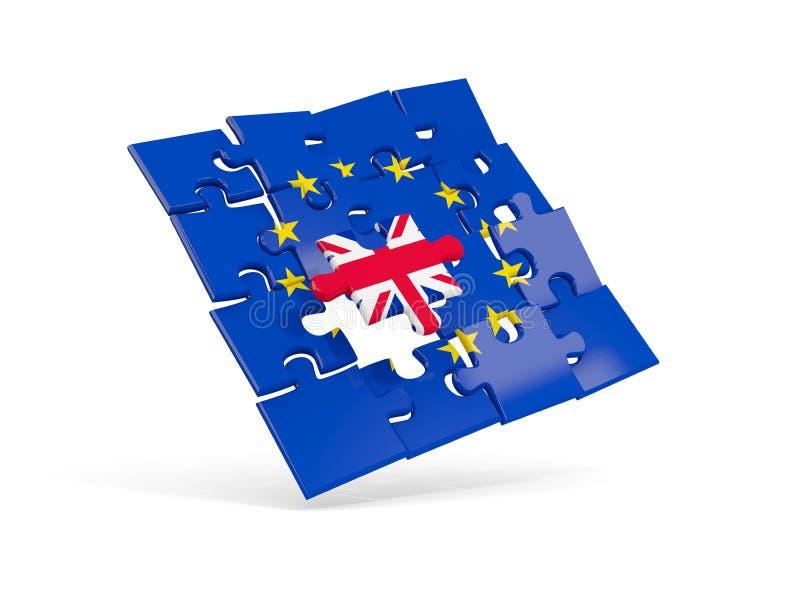 困惑欧盟英国的旗子和旗子 向量例证