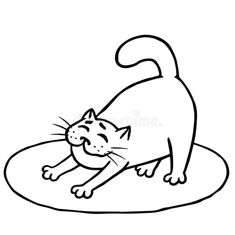 困逗人喜爱的猫在地毯醒了并且舒展了 查出的向量例证 皇族释放例证