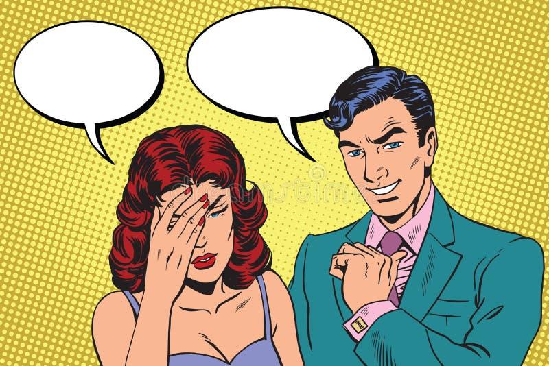 困难的对话头疼 向量例证