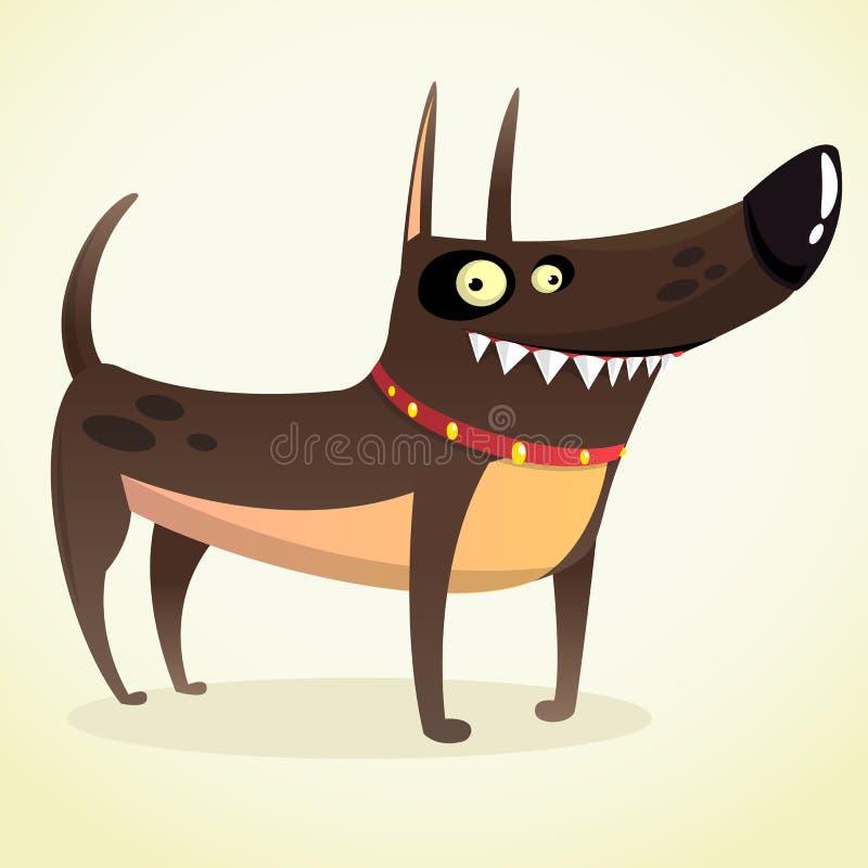 困难的短毛猎犬短毛猎犬动画片例证 在白色 皇族释放例证