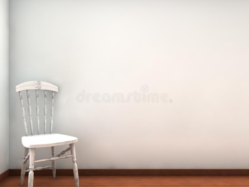 围住白色的空白椅子表面 库存例证