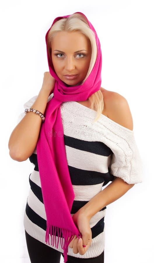 围巾佩带的妇女年轻人 库存图片