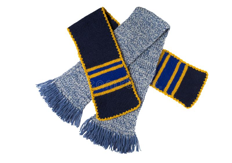 围巾被编织的手工 五颜六色的羊毛围巾 免版税库存图片