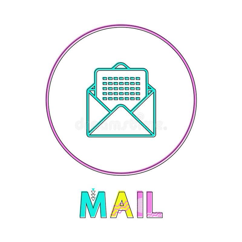 围绕明亮的线性象的邮件与信封标志 向量例证