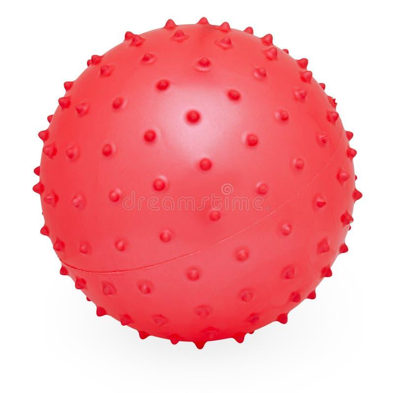 围绕硅树脂可膨胀的红色多节球的孩子的 免版税图库摄影
