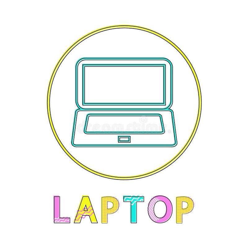 围绕线性明亮的象的膝上型计算机现代应用程序的 库存例证