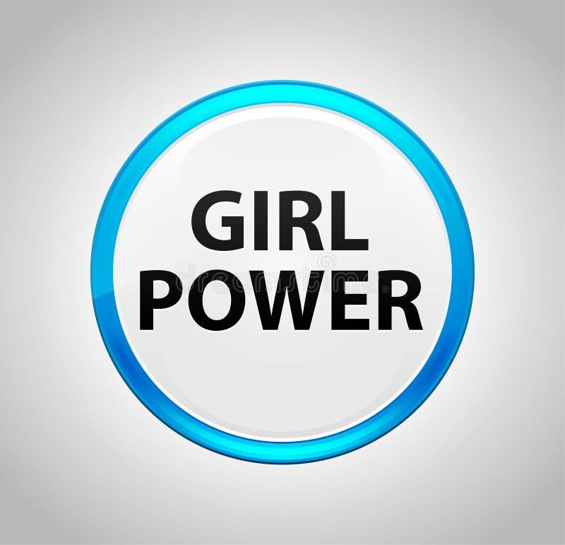 围绕蓝色按钮的女孩力量 向量例证