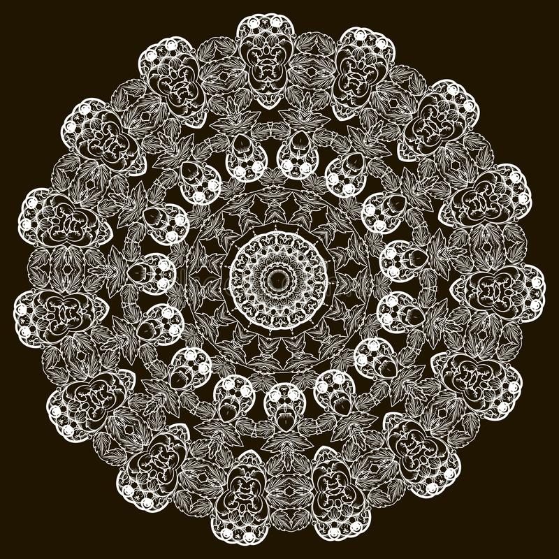 围绕装饰巴洛克式的传染媒介坛场样式的鞋带 有花边的花卉葡萄酒装饰品 黑白高雅华丽设计与 库存例证