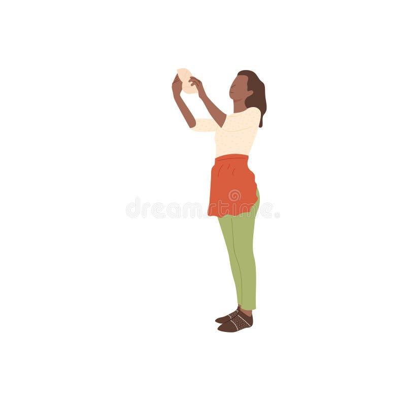 围裙的女孩抹尘土 库存例证