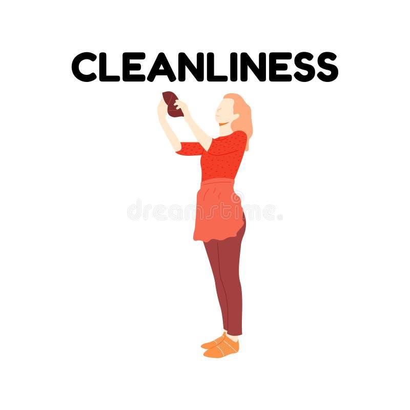 围裙的女孩抹尘土 向量例证