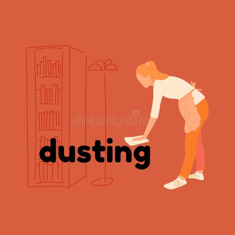 围裙的女孩拂去灰尘 向量例证