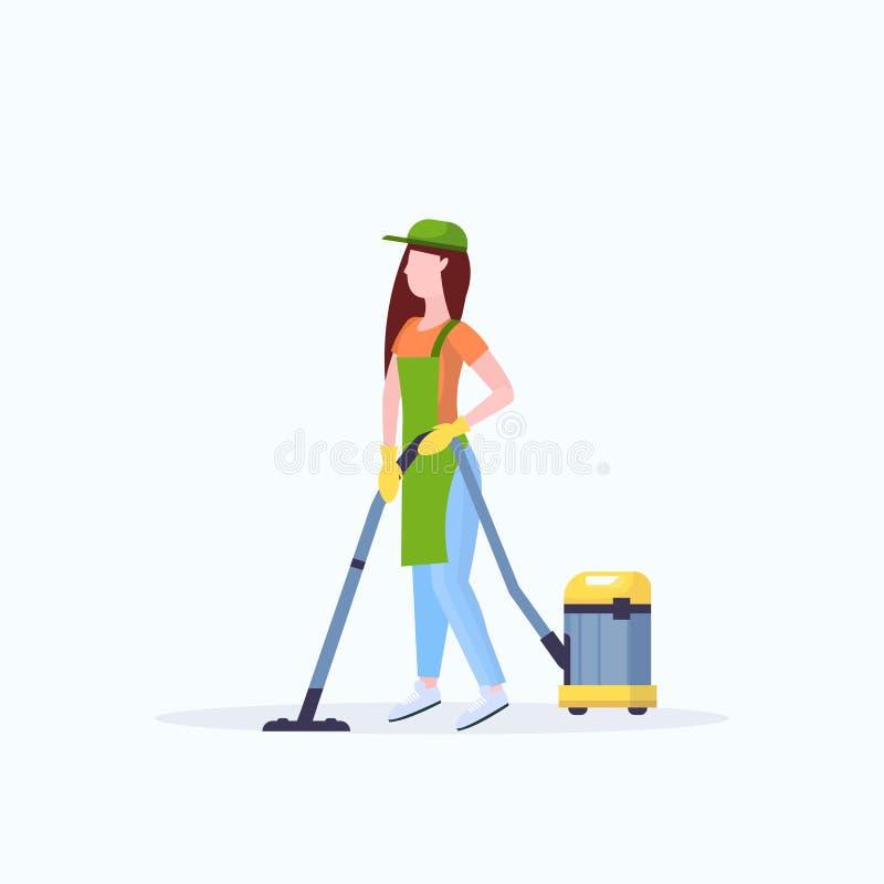 围裙的妇女使用吸尘器女性管理员清洁服务地板关心概念平的全长白色背景 向量例证