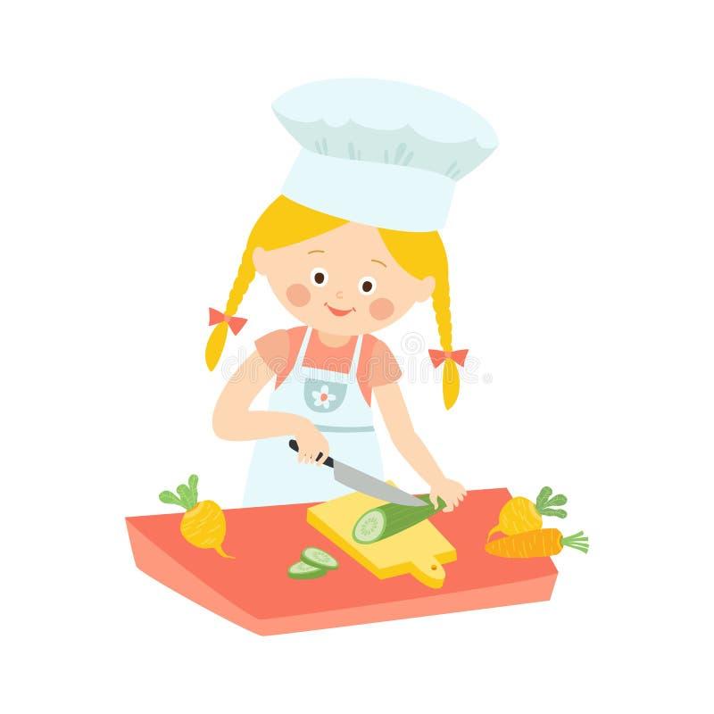 围裙的烹调的小女孩,切开,切沙拉的黄瓜,动画片在白色隔绝的传染媒介例证 向量例证