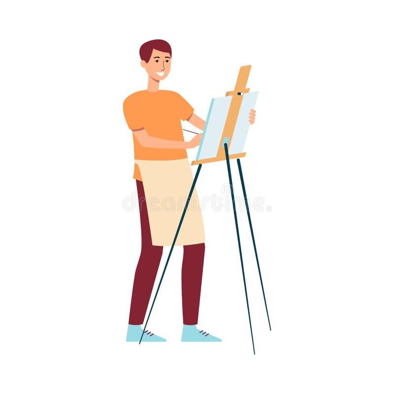 围裙身分的在帆布动画片样式的人在画架附近和绘画 向量例证