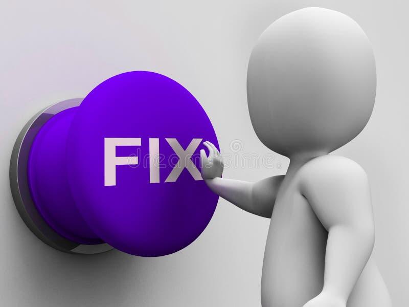 固定修理缺点和维护的按钮展示 向量例证
