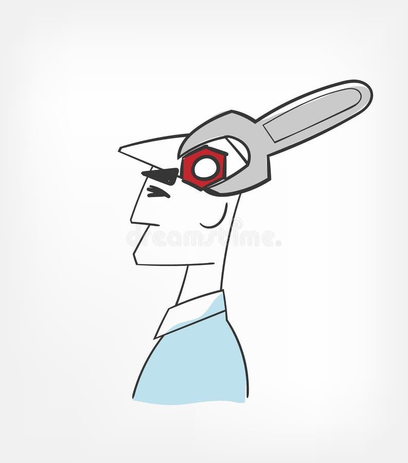 固定头脑概念传染媒介例证被隔绝的剪贴美术 向量例证