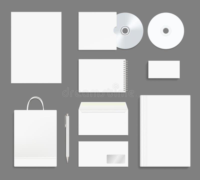 固定式企业的身分 办公室烙记的大模型公司信封文件夹集合名片笔纸CD的包裹 库存例证