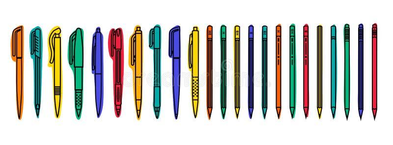 固定式收藏 色的笔和铅笔在白色背景 r 向量例证