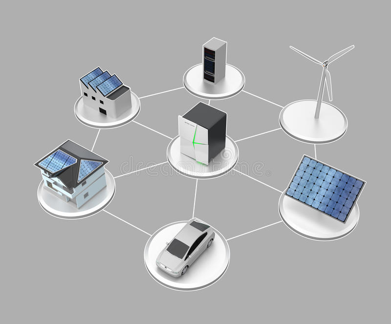 固定式电池系统的例证 库存例证