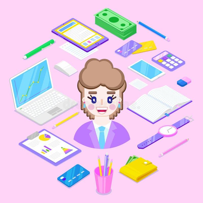 固定式的女实业家和的办公室 向量例证