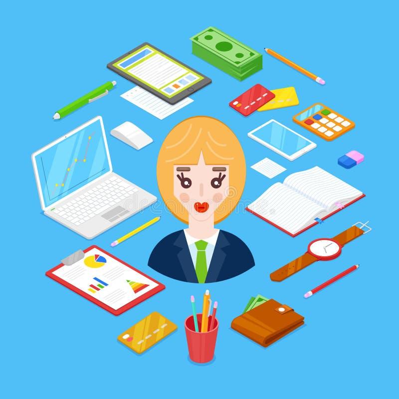 固定式的女实业家和的办公室 库存例证