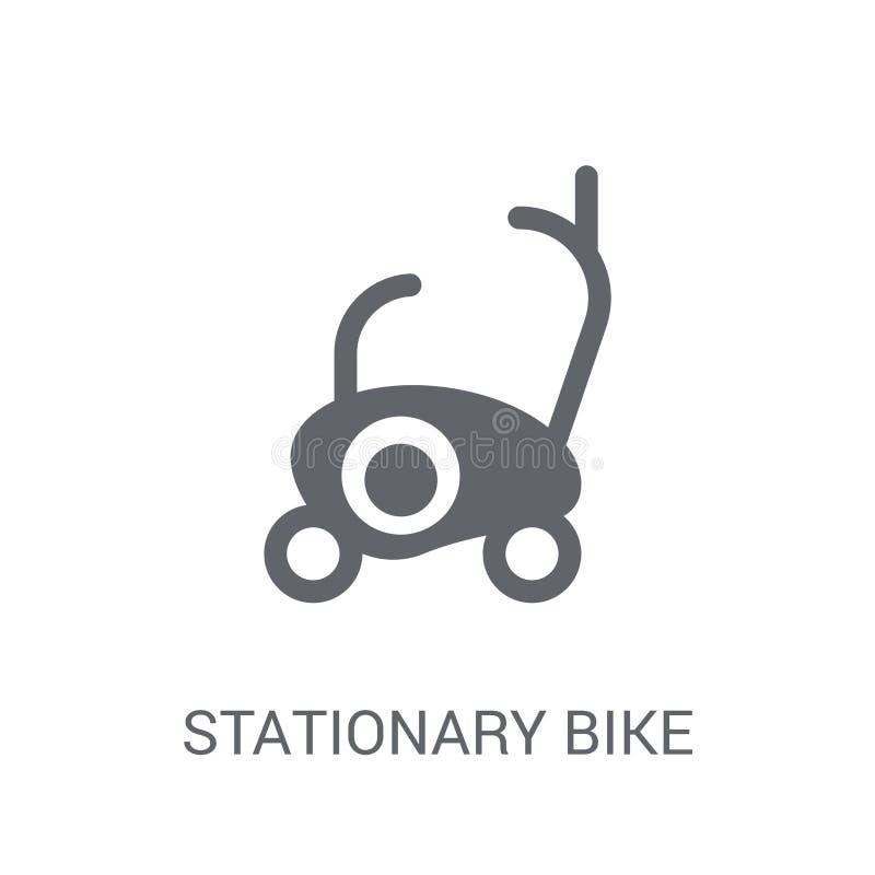 固定式自行车象 在whi的时髦固定式自行车商标概念 向量例证