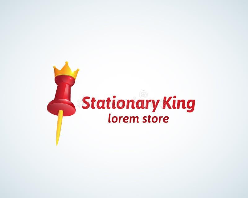 固定式Absrtract Vector Sign国王,标志或者商标模板 与一个金黄冠现实梯度标志的红色Pin 向量例证