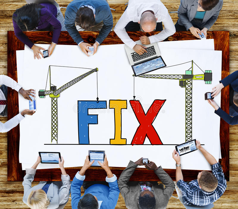 固定机械修理解答技术员保养概念 免版税库存照片