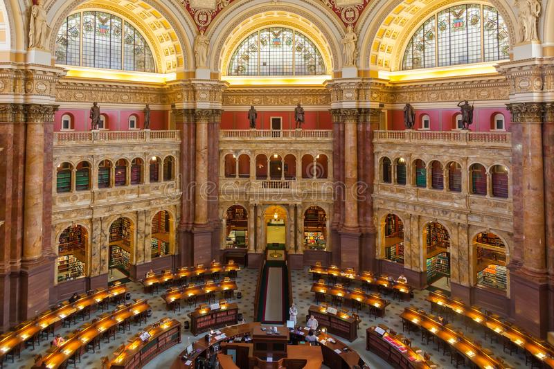 国会图书馆:美国LOC 美国国会图书馆的主要阅览室 库存图片