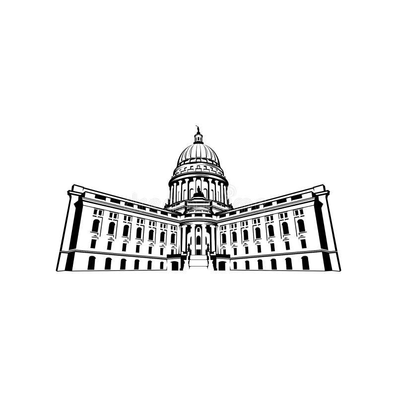 国会大厦圆顶商标设计启发-资本商标设计启发 库存例证