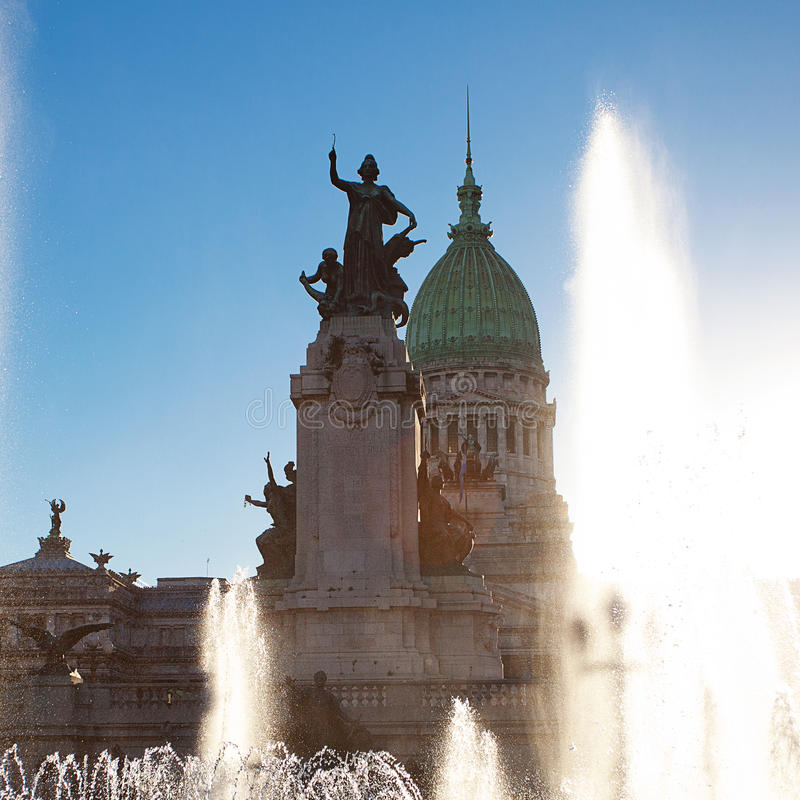 国会大厦在布宜诺斯艾利斯,阿根廷 免版税库存图片
