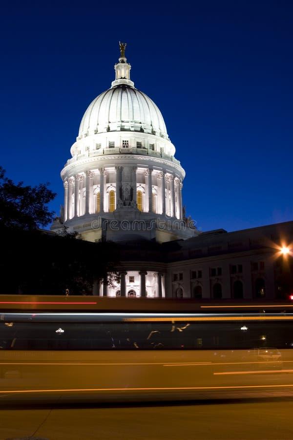 国会大厦夜间麦迪逊 库存图片