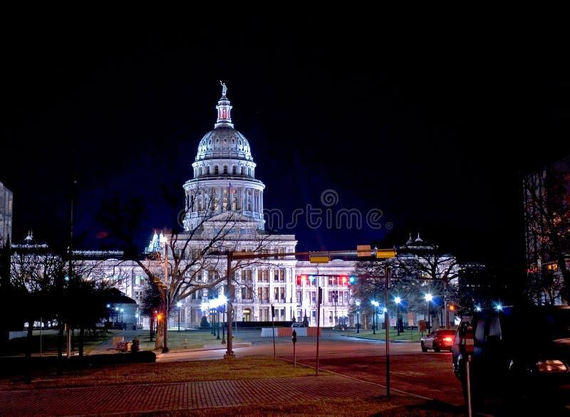 国会大厦晚上状态得克萨斯视图 免版税图库摄影