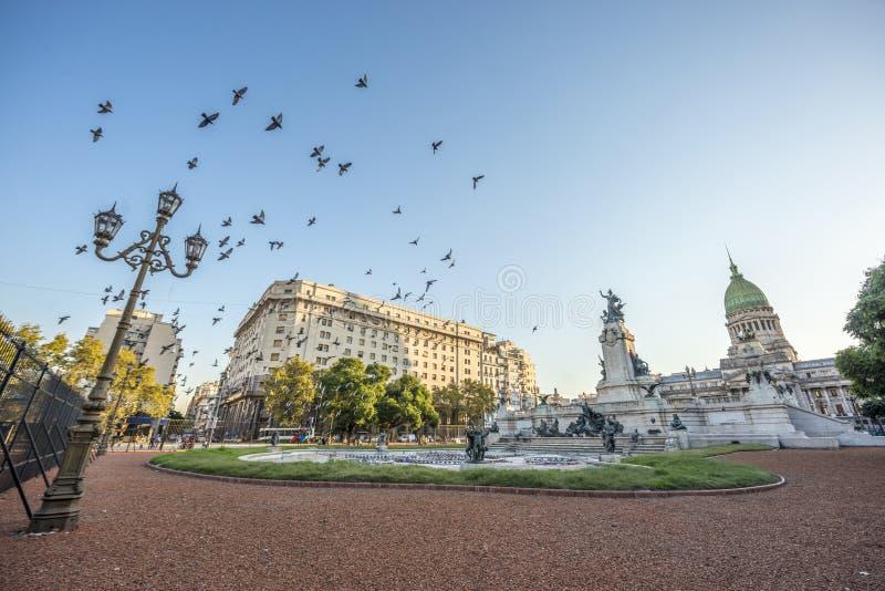 国会正方形在布宜诺斯艾利斯,阿根廷 库存图片