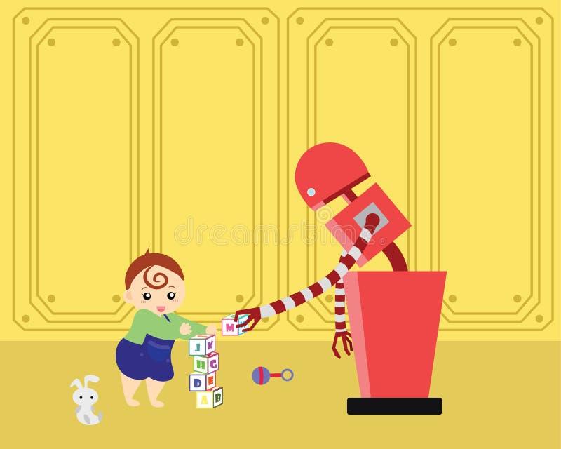 国内使用与字母表块的机器人和小孩 皇族释放例证