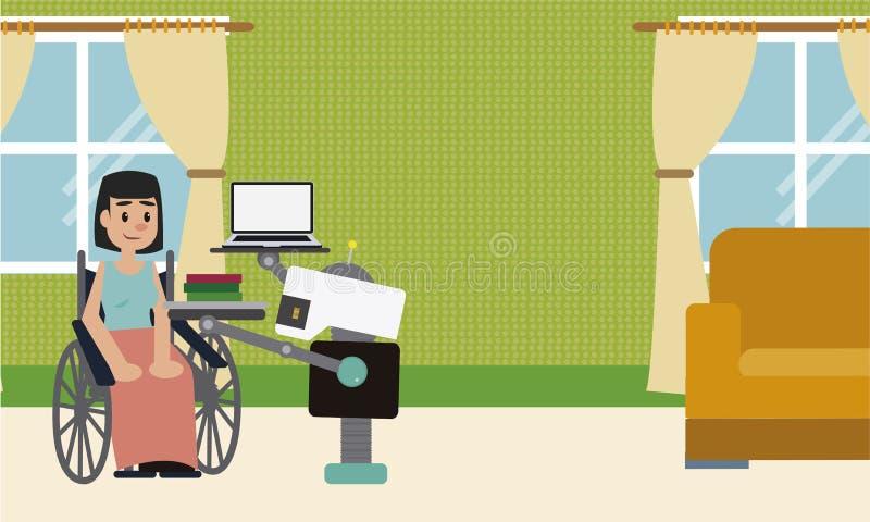 国内机器人带来膝上型计算机和书他的坐在轮椅的残疾夫人所有者的 皇族释放例证