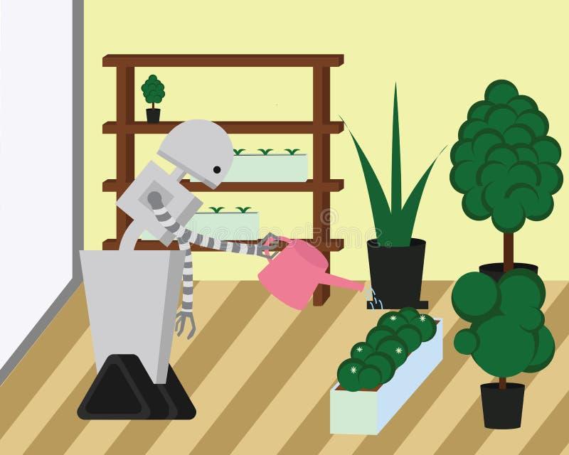 国内机器人水厂在家庭院 向量例证