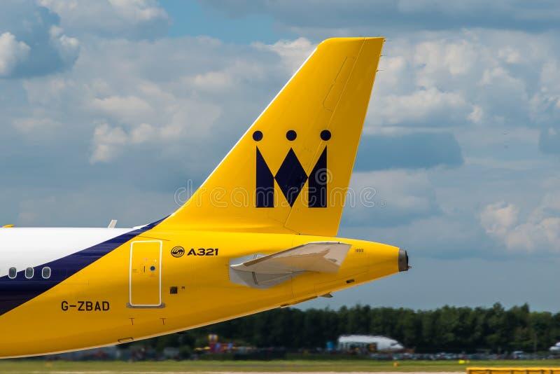 国君航空公司空中客车A321尾巴 免版税库存照片