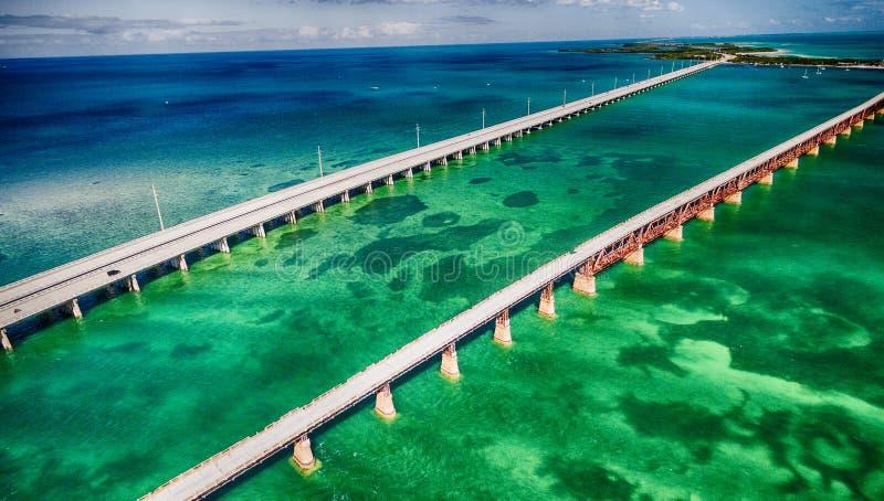 国外高速公路桥梁,佛罗里达美好的鸟瞰图  库存图片