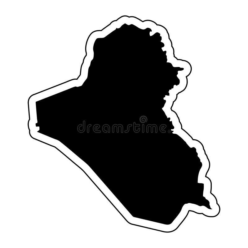 国家伊拉克的黑剪影有等高线或fr的 皇族释放例证