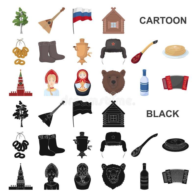国家俄罗斯,旅行在集合汇集的动画片象的设计 吸引力和特点传染媒介标志股票网 库存例证